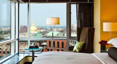 View from corner room at Nine Zero Hotel in Boston