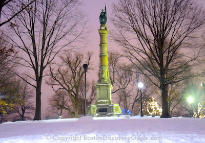 Boston Common on a snowy evening