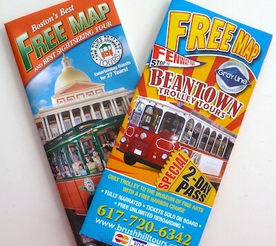 Photo of free Boston maps provided by trolley tour companies