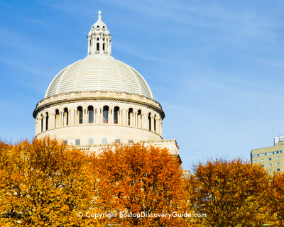 Fall foliage on Christian Science Church Plaza across from the Colonnade Hotel in Boston