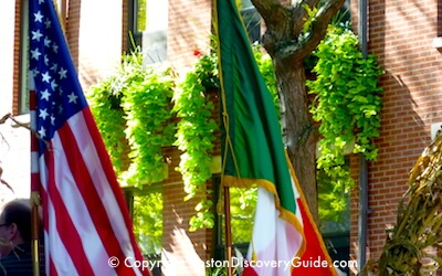 American and Italian flags for Boston Columbus Day Parade