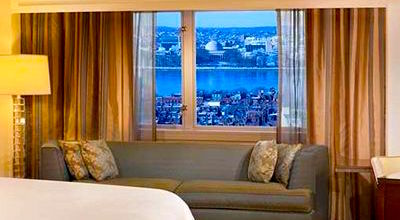 See the river view from upper floors of the Boston Hilton Back Bay Hotel