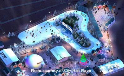 Ice Skating Path and Holiday Markets - Boston's City Hall Plaza