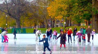Ice skating on Boston's Frog Pond