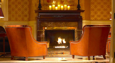 Fireplace in room at Lenox Hotel