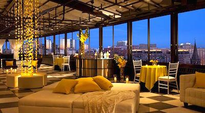 Rooftop terrace at Taj Boston Hotel