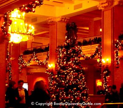 Christmas tree in Park Plaza Hotel Boston Lobby