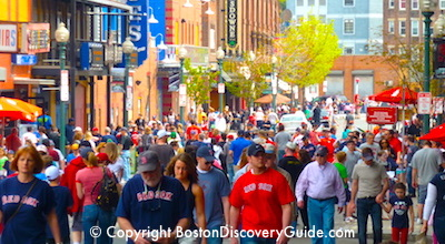 Red Sox Schedule May - Red Sox fans walking to Fenway Park