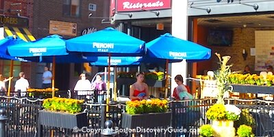 Outdoor dining in Boston's North End neighborhood