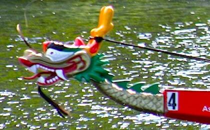 Dragon boat participating in Boston's Dragon Boat Festival