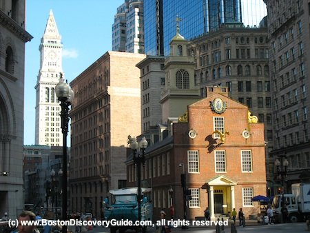 Photo of the Old State House on the Freedom Trail in historic downtown Boston