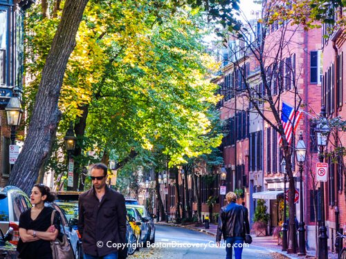 The beginning of fall foliage color in Boston's Beacon Hill neighborhood