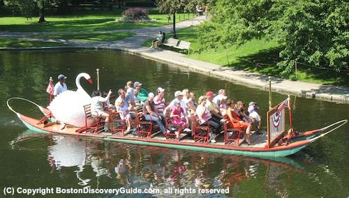 Boston Swan Boats on Lagoon in Public Garden in late April