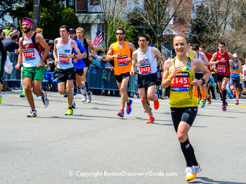 April Events in Boston - Boston Marathon runners as they approach Heartbreak Hill