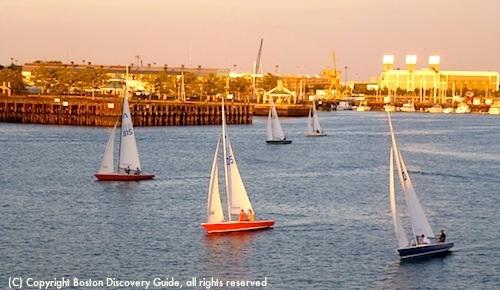 Sailboats near East Boston