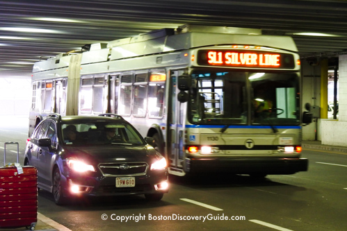 Silver Line bus at Boston Logan Airport