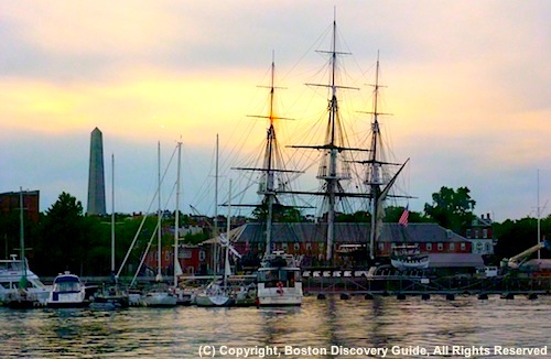 Photo of USS Constitution (Old Ironsides) in Boston Harbor - www.boston-discovery-guide.com