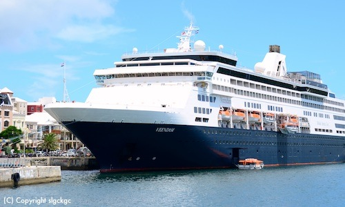 Cruises from Boston to Europe are on the Veendam, shown in the photo