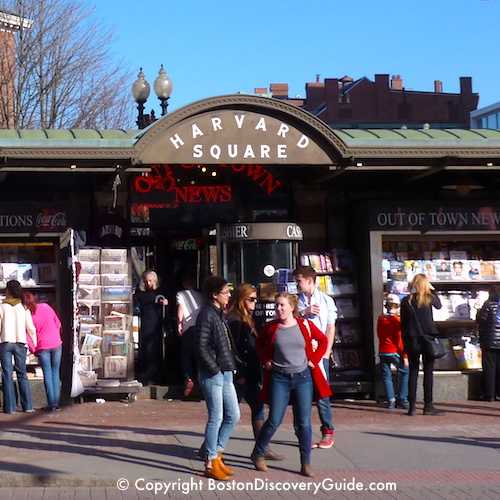 Boston neighborhoods:  Harvard Square in Cambridge - a separate city across the Charles River