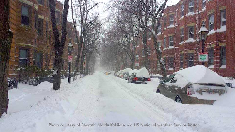 A street in Boston's Back Bay neighborhood, buried in snow by the same nor'easter-blizzard shown in the photo above