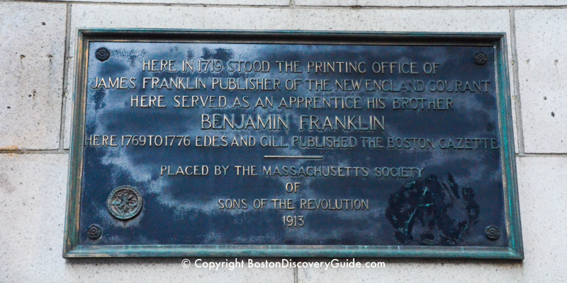Memorial marker on Court Street near Old City Hall marking the spot of Franklin's brother's printing office