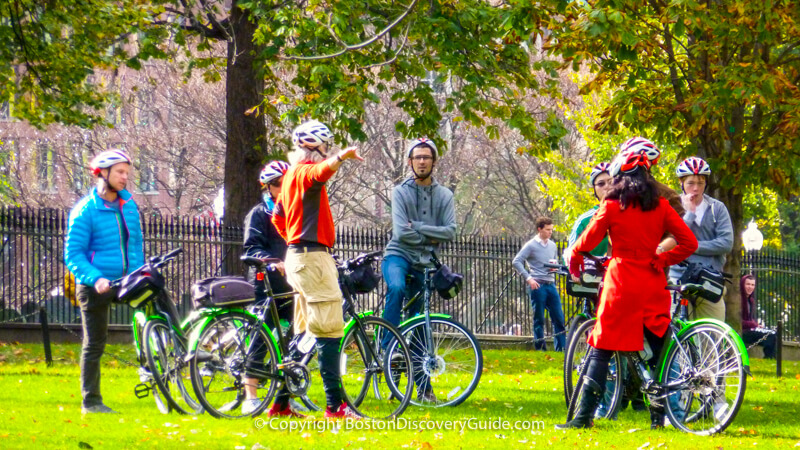 Bike tour group on Boston Common