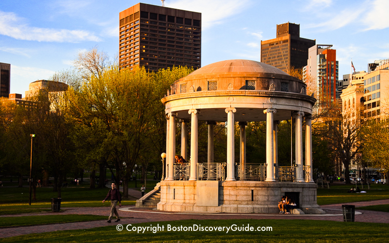 Parkman Bandstand on Boston Common just as the sun is setting