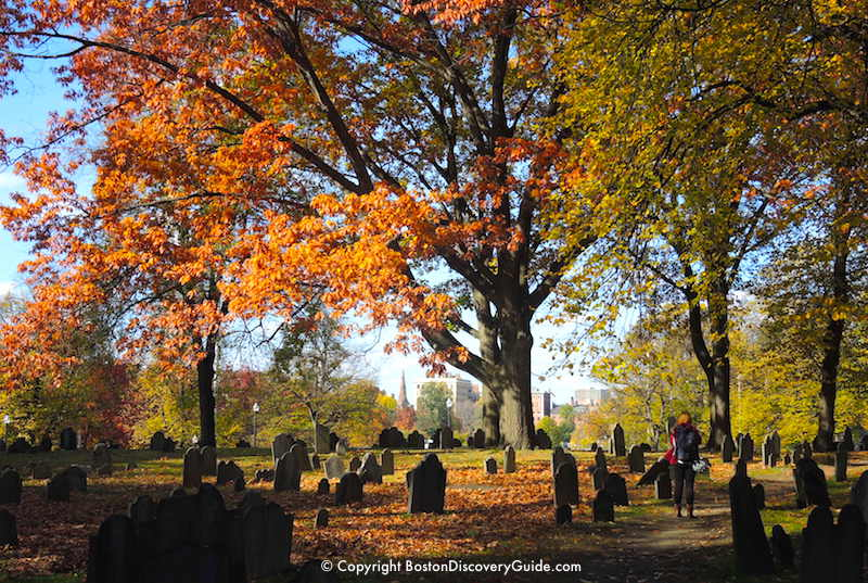 Boston weather in November - Fall foliage on Boston Common near Central Burying Ground