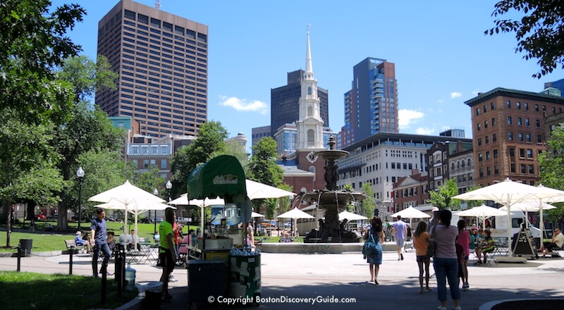 Boston Common, with Park Street Church (Freedom Trail site) in the background