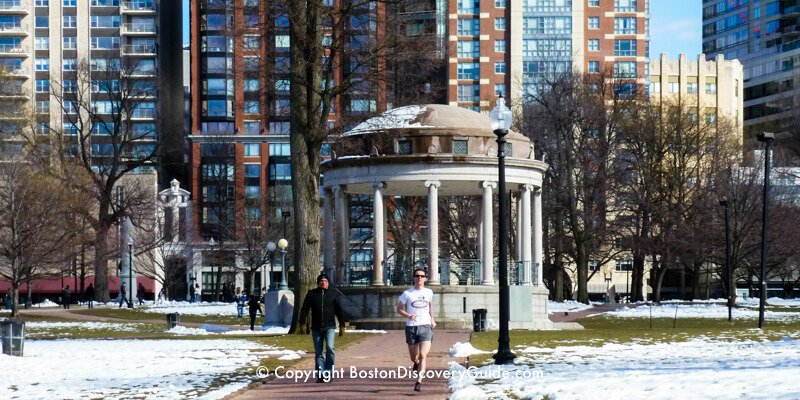 Boston Common in winter on sunny day