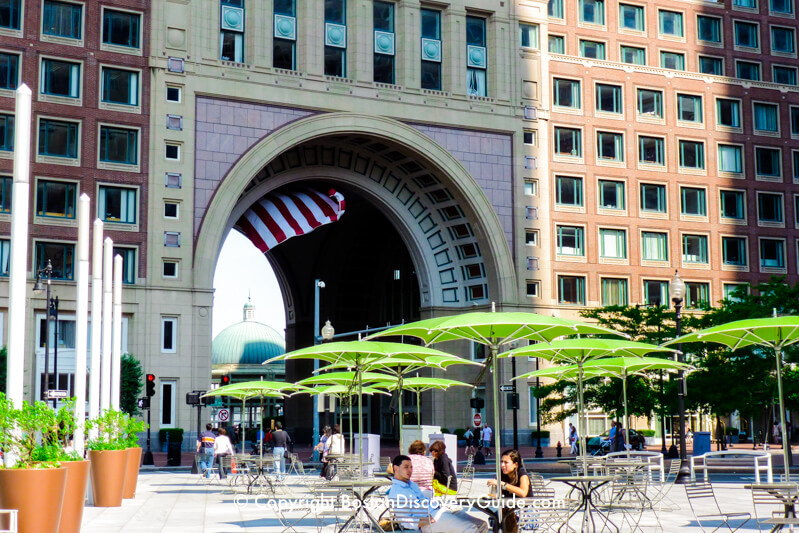 Seating on the Greenway in front of the Boston Harbor Hotel