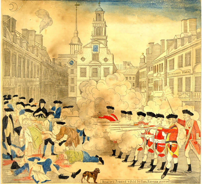 Paul Revere's House engraving of the Boston Massacre - on display at the Old State House