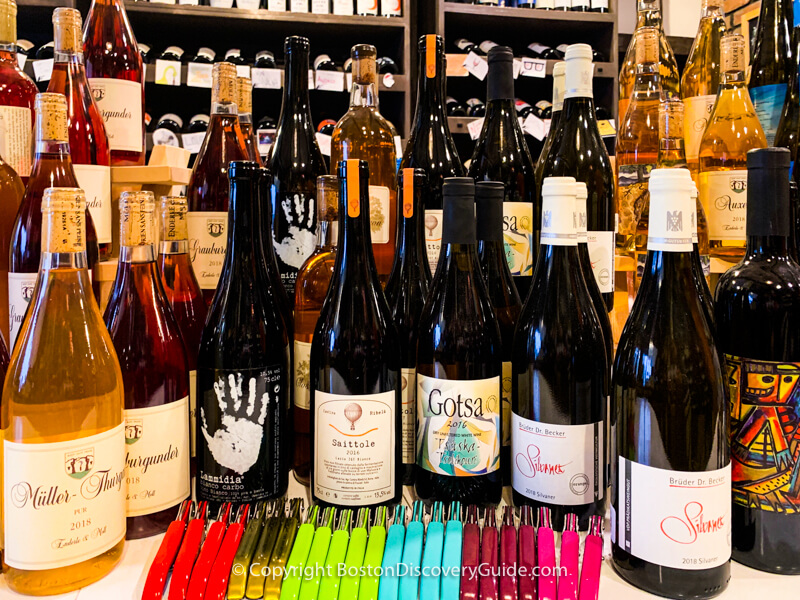 Selection of natural wines at The Wine Bottega in the North End