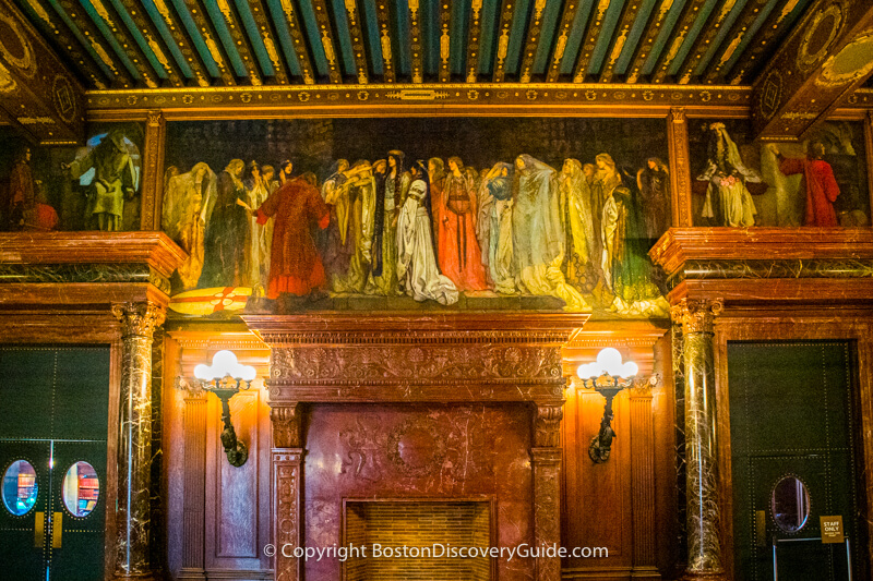 Mural depicting The Castle of Maidens from the story of Sir Galahad's Quest of the Holy Grail in The Abbey Room in Boston Public Library