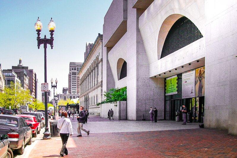 Boylston Street Entrance to the Johnson Building - Boston Public Library