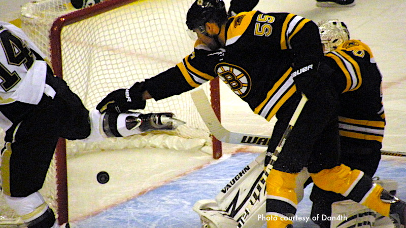 Bruins playing against the Penguins at TD Garden