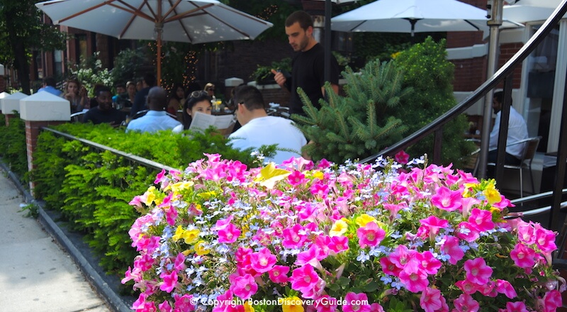 Outdoor dining at Cafeteria in Boston's Back Bay neighborhood