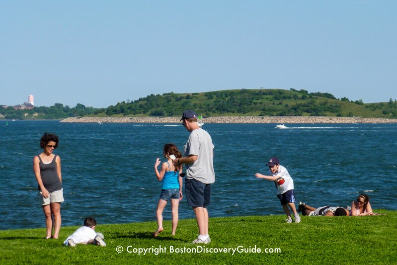 Boston Harbor Islands: View of Long Island and Spectacle Island from Castle Island