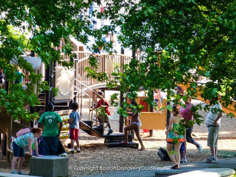 Kids playing at the Castle Island Playground
