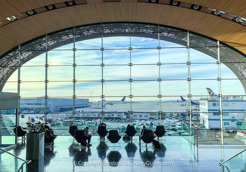 Charles de Gaulle Airport in Paris - lounge area near departure gates