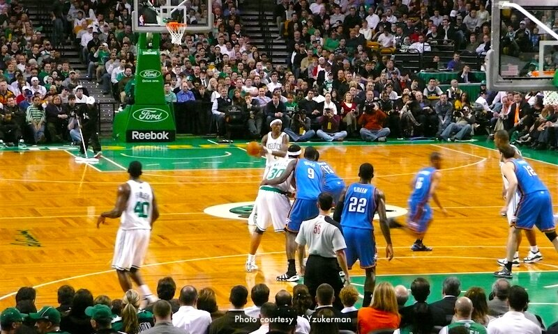 Boston Celtics playing at TD Garden