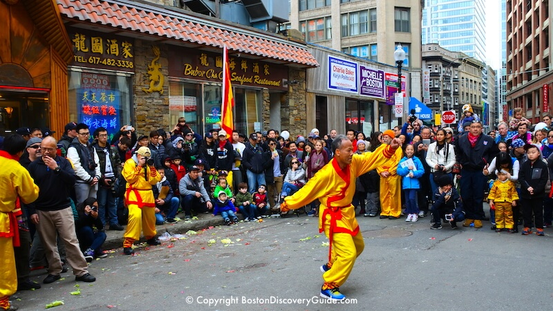 Kung-fu demonstration during the Chinese New Year parade and celebration in Boston's Chinatown in February