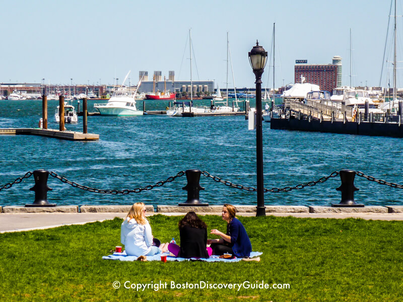 Picnic in Christopher Columbus Park overlooking Boston Harbor