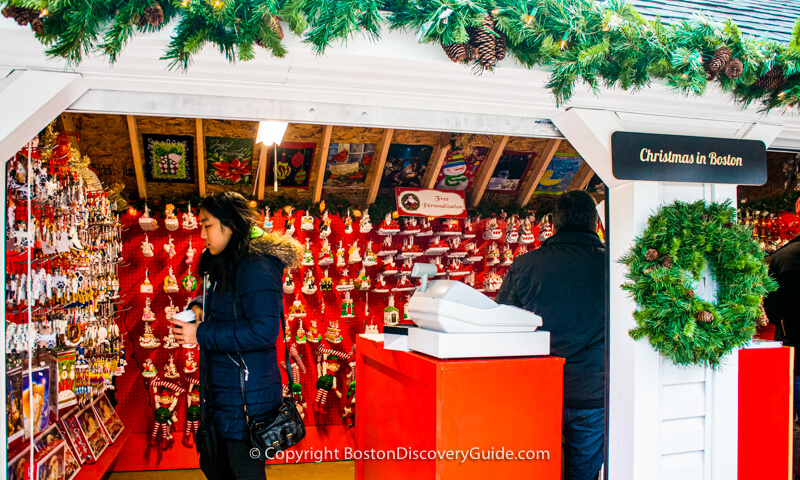 Shopping at one of Boston's colorful Christmas markets