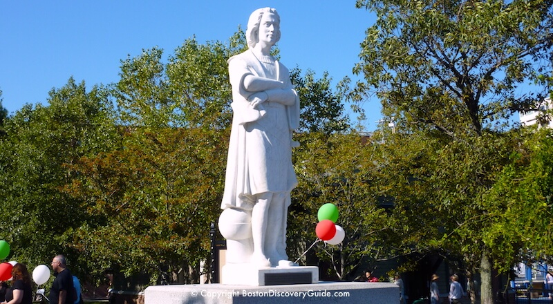 Christopher Columbus statue in Christopher Columbus Park in Boston's North End neighborhood