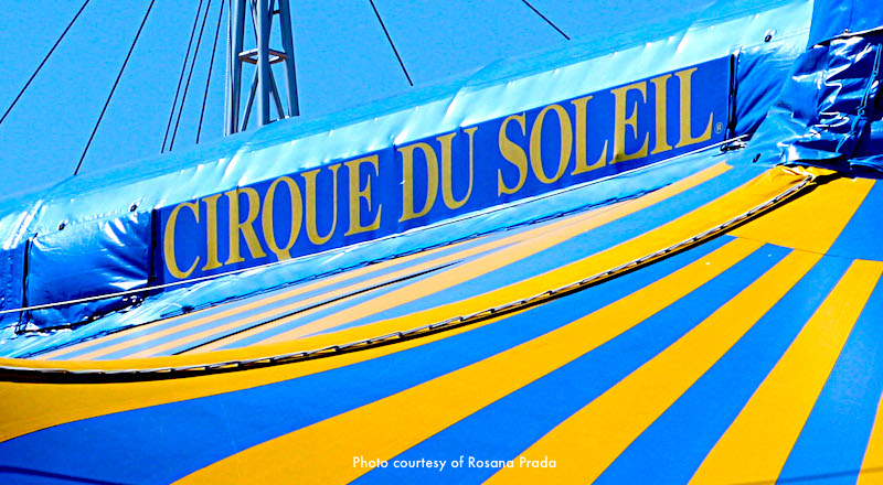 Striped tent of Cirque du Soleil in Boston
