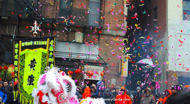 Boston Chinese New Year Parade - red lanterns and confetti