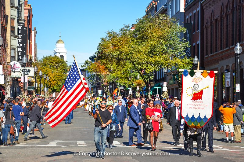 Columbus Day parade in Boston's North End