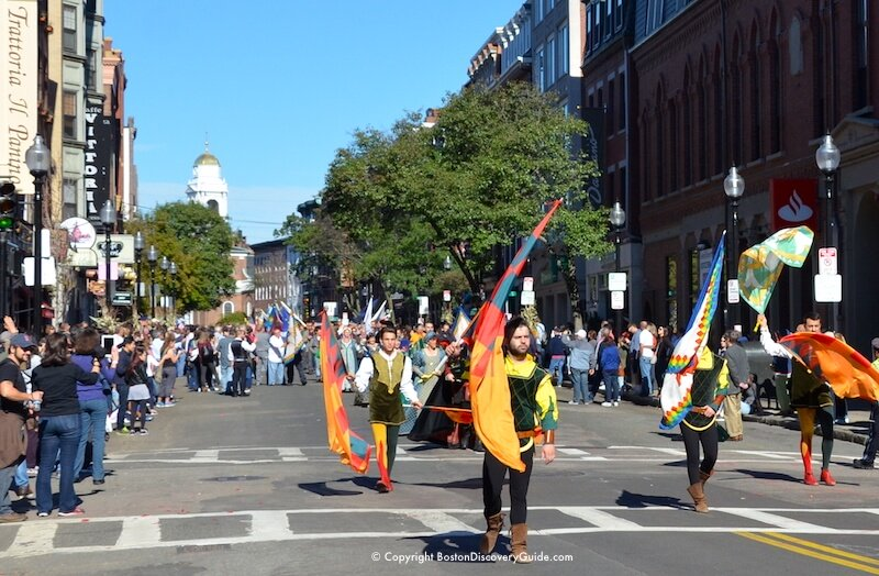 Columbus Day Parade marching down Hanover Street in Boston's North End