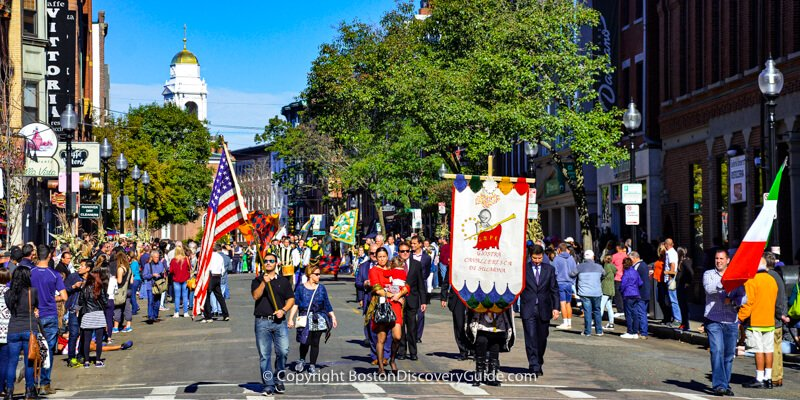 Boston's Columbus Day Parade marching up Hanover Street in the North End